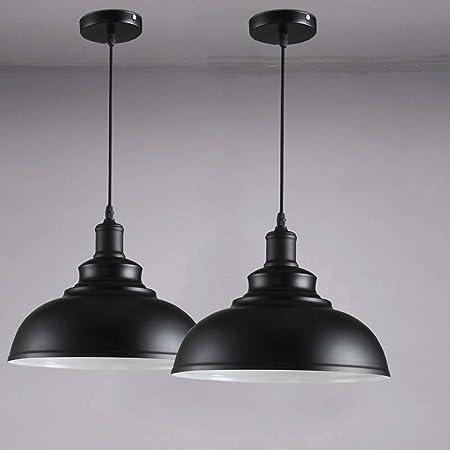 2 pack Suspension Vintage Lustre Abat-jour Noir, Industriel Luminaire en Métal 29cm E27 éclairage Lampe de Plafond