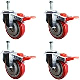 4 Inch Total Lock Caster - Red Polyurethane Wheel - 1/2'-13 x1-1/2' Threaded Stem Set of 4