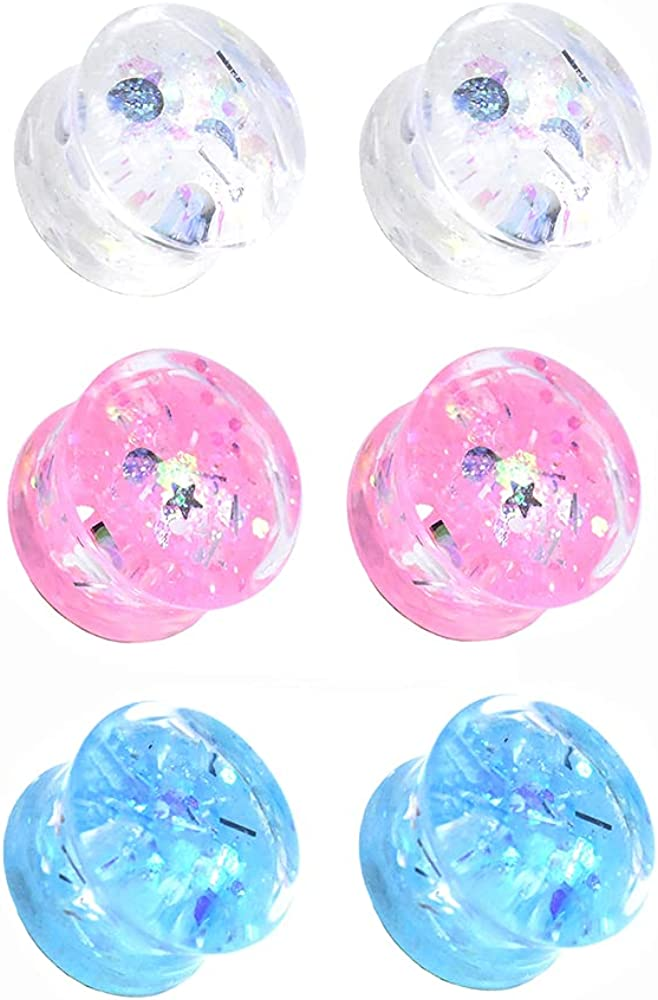 Jboyanpei 6Pcs 3pair 2021new shipping free shipping Twinkle Acrylic Gauges service Ear Plugs Stretching