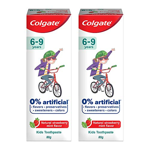 Colgate Kids Anticavity Toothpaste 6-9 Years, 160g (80g x 2), Natural Strawberry Mint Flavour, 0% Artificial