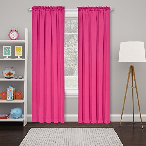 """ECLIPSE Tricia Room Darkening Thermal Rod Pocket Window Curtains for Bedroom, Double Panel, 52"""" x 84"""", Pink"""