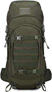 Ssszx - Mochila de senderismo (65 L, impermeable, ligera, para deportes al aire libre, viajes, ciclismo, escalada, con funda para la lluvia), color verde, tamaño 65L