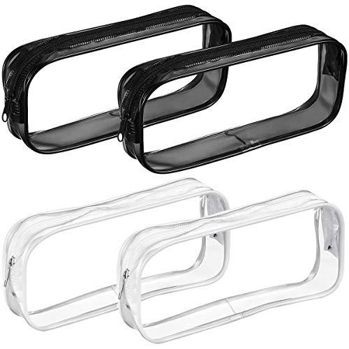 Jinlaili Estuche Transparente para Lapices, 4 Pz Bolsa Lapices Transparente, Bolsa de Lápices con Cremallera, Estuches Escolares Transparentes, Bolsa de Maquillaje Transparente PVC, Blanco y Negro