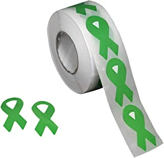 500 Small Green Ribbon Awareness Stickers (500 Ct)