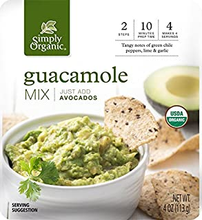 Simply Organic Guacamole Dip Mix   Just Add Avocados   Certified Organic   4 oz. (Pack of 6)