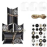 HIQE-FL 2020Bolsas Calendario Adviento,Calendario De Adviento,Caja de Dulces,Cajas de Regalo Navidad con 24 Pegatinas De Adviento (Negro)