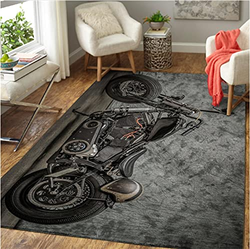 Haiqings Motorcycle Printed Mat Large Rug Carpet Home Decoration Living Print Bedroom Non-Slip Floor Rug 180x280cm