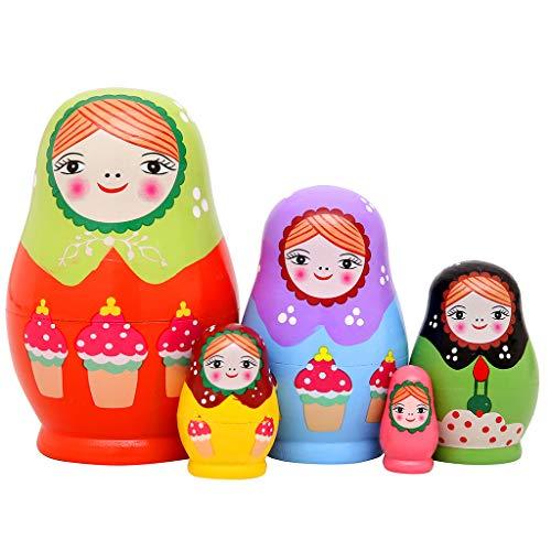 Monnmo 5Pcs Handmade Wooden Russian Nesting Dolls Matryoshka Dolls - Stacking Doll Set of 5 from 4.3' Tall (Green)