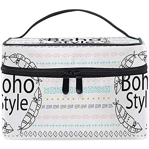 Schminktas Bohemian Native Feather Draagbare grote cosmetische toilettas Train Case Organizer Box Pouch