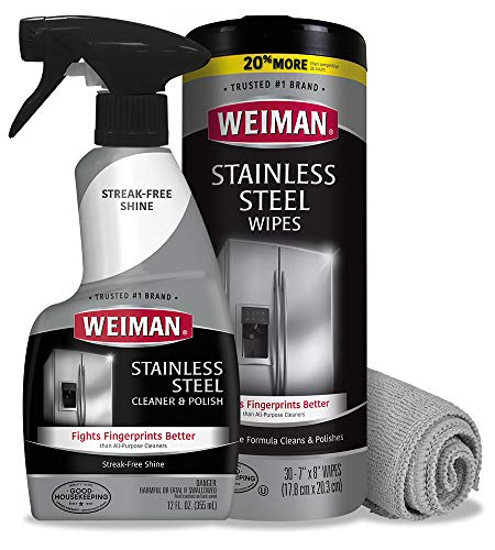 Weiman Stainless Steel Cleaner Kit - Fingerprint Resistant, Removes Residue, Water Marks and Grease from Appliances - Works Great on Refrigerators, Dishwashers, Ovens, and Grills - Packaging May Vary
