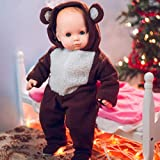 The Queen's Treasures 15-inch Doll Clothing Soft Plush Bear Hoody Sleeper with Reusable Plastic Hanger. Compatible with 15-inch American Girl Doll