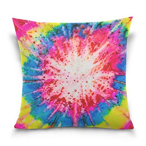 Hancal Aquarell mit Regenbogen-Tie-Dye-Effekt Plüsch-Kissenbezug - Unsichtbarer Reißverschluss-Kissenschutz für Bettcouch-Sofa