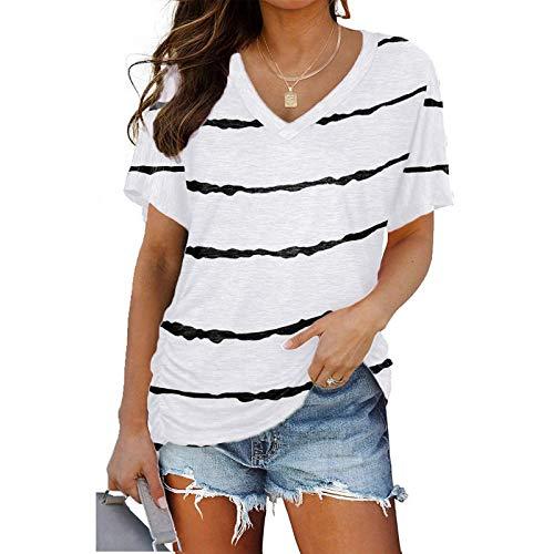 Damen T-Shirt Kurzarm Streifen Druck Sommer Oberteile Pullover Loose Tee Tops Casual V-Ausschnitt Shirt Hemd Bluse Tunika Kurzärmliges Bequem Mode Longshirt für Frauen Teenager Mädchen