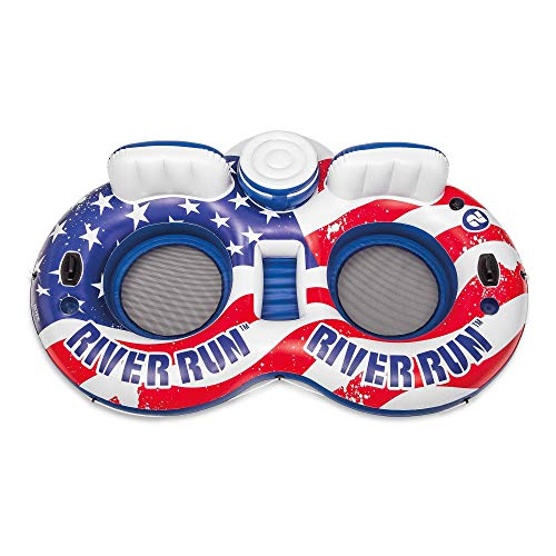 Intex 56855VM River Run Inflatable American Flag 2 Person Water Lounge Pool Tube Float with Cooler, Cup Holders, and Easy Patch Repair Kit