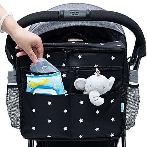 Orzbow Bolso Carro Bebé Universal, Bolsa Organizadora de Cochecitos para Mamá,Almacenamiento de Pañales bolsa de mensajero o un Bolso de mano y mochila para Mamá - 35 x 31 x 19 cm (negro)