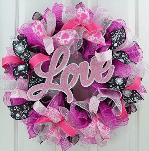 Clearance Valentine Wreath   Valentine's Day Wreath   Love Mesh Door Wreath; Black Pink White