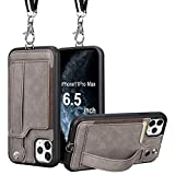 TOOVREN iPhone 11 Pro Max Wallet Case, iPhone 11 Pro Max Case Protective Cover with Leather PU Card Holder Adjustable Detachable iPhone Lanyard Stand Strap for iPhone 11 Pro Max 6.5 Inch 2019 Gray