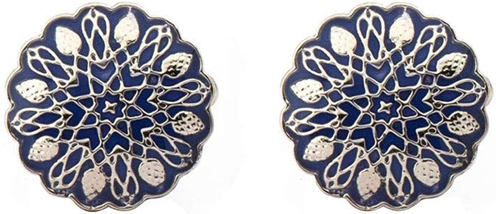 Rosec Jewels Vintage Mughal Art Handcrafted Cufflinks, Antique Motif Enamel Round Cufflink for Mens, Gentleman Tuxedo Brass Cufflink and Tie Clip Accessory for Him
