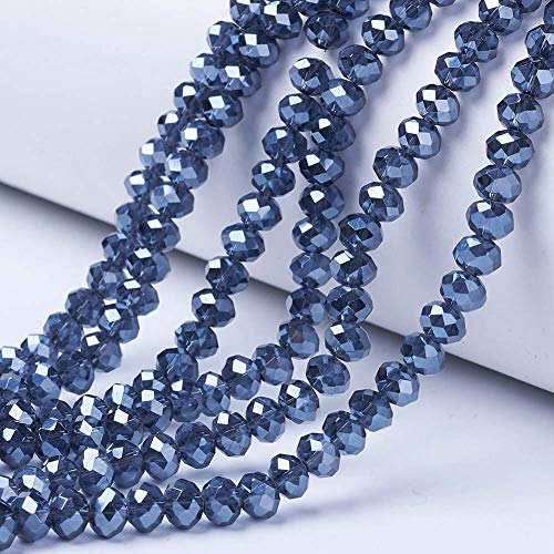 Craftdady 10 Strands Pearl Luster Plated Facted Glass Loose Bead 6mm High Polished Glass Crystal Beads, About 92pcs/Strand, 17' for Jewellery Making Hole: 1mm, MarineBlue