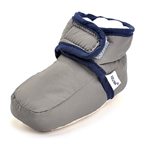 Enteer Infant Snow Boots Premium Soft Sole Anti-Slip Warm Winter Prewalker Toddler Boots (3-6months, Dark Grey)