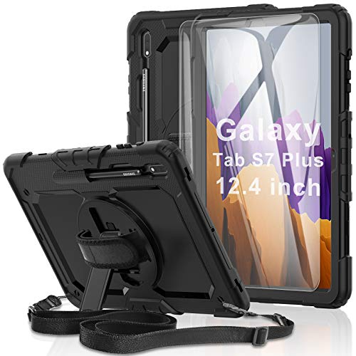 """Samsung Galaxy Tab S7 Plus/ S7+ 12.4"""" Case 2020 [with Tempered Glass Screen Protector], [Shockproof] BASE MALL Full-body Protective Case, Rotatable Kickstand, S pen Holder, Hand/Shoulder Strap (Black)"""