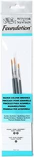 Winsor & Newton : Foundation Watercolour Brush Set : SH Round 3 & 5 Flat 1