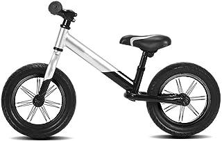 AMDHZ 14インチ バランス自転車 チャイルドバランスバイク ペダル自転車なし アルミバランスバイク 5CMタイヤを広げる 1?6歳 簡単制御 エアタイヤ (Color : Silver+Black, Size : 110x60cm)