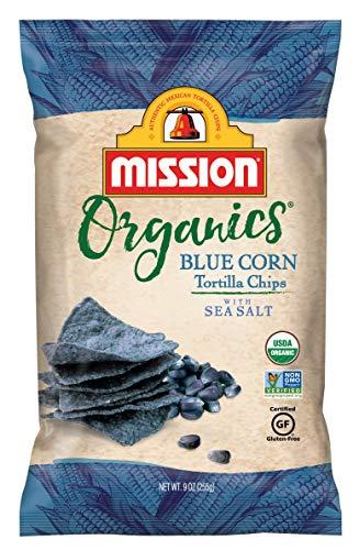 Mission Organics Blue Corn Tortilla Chips, Gluten Free, Non GMO Snacks, 9 oz