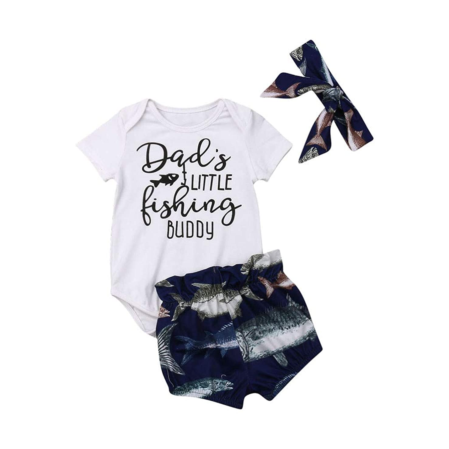 LiLiMeng Infant Baby Dads Little Fishing Buddy Letter Romper Tops Shorts Outfits Set
