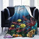 KOSALAER Bedding Manta,Colorido Acuario Submarino con Delfines Peces Marinos Coral,Mantas cálidas de Sala de Estar/Dormitorio Ultra Suaves para Todas Las Estaciones