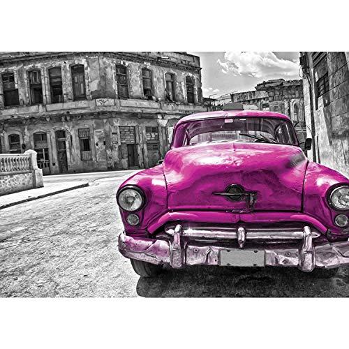 Vlies Fototapete PREMIUM PLUS Wand Foto Tapete Wand Bild Vliestapete - Oldtimer Auto Kuba Havanna Ölfarbe - no. 2888, Größe:254x184cm Blueback Papier