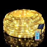 [New Upgraded] Outdoor String Lights Solar , 66ft 200LEDs IP67 Waterproof Rope Lights Outdoor with Remote, 8 Modes PVC Coating LED Solar Powered String Lights for Patio Garden Decor, Warm White