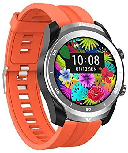 WHXJ Bluetooth Anruf Smartwatch 560 mAh Lithium-Batterie Zwei Zeitzonenanzeige Spiel Musik Gesundheitsmanagement Mehrsprachige Umwandlung, Black Belt Orange Silicone Belt