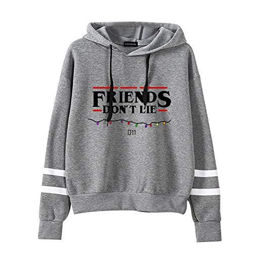 Tiantianmei Women's Stranger Things Friends Don't Lie Unisex Adult Hoodie Pullover Sweatshirt(M Gray)