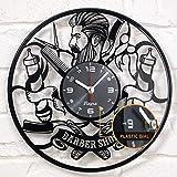 Barber Shop Clock Vinyl Record Barbering Hairdresser Barberia Hair Salon Vinyl Clock Decor Vintage Art Vinyl Wall Clock Decorations Handmade Decor Gifts - Barber Gift Idea - Barbershop Vinyl Clock