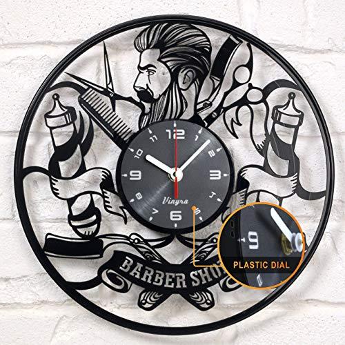 Barber Shop reloj disco de vinilo Hipster peluquería peluquería salón de belleza vinilo reloj Decor Art Disco de vinilo reloj decoración única hecha a mano decoración