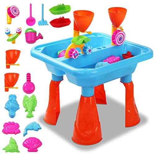 Kids Large Sand and Water Table Garden Sandpit Play Set Toy Watering Can with Accessories (Blue)