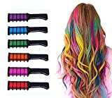 6PCS Hair Chalk Comb, Hair Colorations, Temporary Bright Hair Color Cream for Girls Kids Adults, 6 Metallic Glitter Colors, Party, Christmas Halloween Birthday
