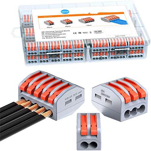 Schnellkabelanschlussklemme, 60er-Pack-Kabelverbinder, Leiterdrahtklemmen-Klemmenblock mit Hebeln für feste, verseilte und flexible Kabel