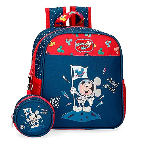 Disney Mickey on The Moon Mochila de Paseo pequeña Azul 23x25x10 cms Poliéster 75L