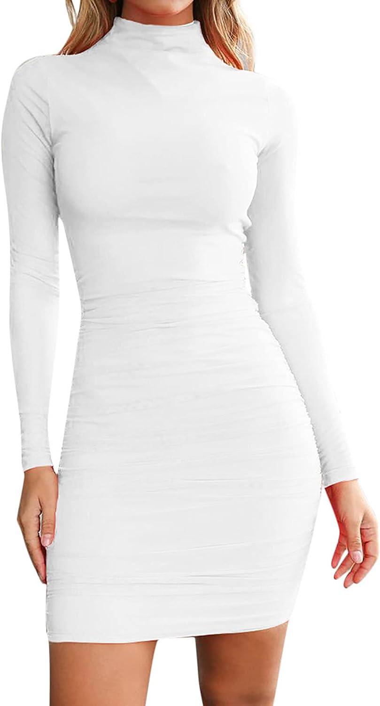 lcziwo Long Sleeve Ruched Pencil Dress for Women Fashion Mock Neck Dresses Elegant Bodycon Formal Party Mini Dress