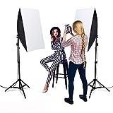 Kit de iluminación para fotografía de softbox, Heorryn kit de iluminación continua de 20 x 28 pulgadas, equipo profesional de estudio fotográfico con soporte ajustable de 2 m y foco LED de vídeo