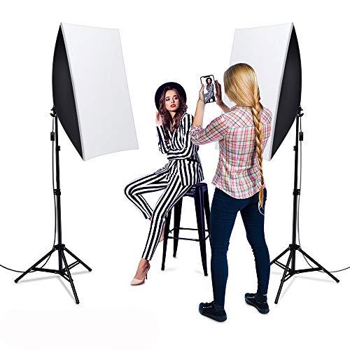1600W Softbox Dauerlicht Fotostudio Set,Heorryn Softbox Studioleuchten Kit mit 2m verstellbarem Ständer 5500K LED Birne und Tragetasche für Fotostudio-Porträts Produktfotografie Videoaufnahme (2 Pack)