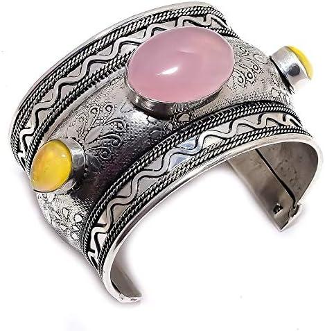 YUVI Rose Quartz, Triplet Opal .925 Silver Jewelry Cuff Bracelet