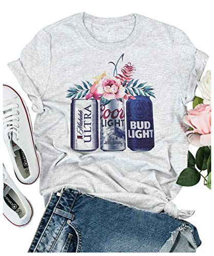 Women Summer Casual T Shirts Cute Funny Beer and Flower Graphic Vintage Short Sleeve Workout Tee Tops for Drinking Party (Small, Grey)
