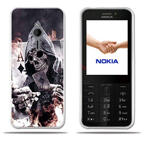FUBAODA für Nokia 230 Hülle, [Death Poker] e Silikon Clear TPU Zeitgenössische Chic Design Slim Fit Vollschutz Anti Schock Design Boy Geschenk Minimalist Ultra Thin Lightest Protector für Nokia 230