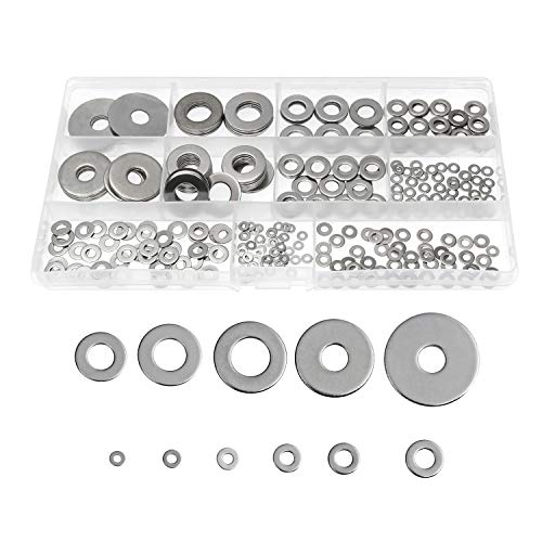 320PCS Stainless Steel Flat Washers M2 M2.5 M3 M4 M5 M6 M8 M10 M12 Washer for Screw Bolt, Flat Washer Assorted Set