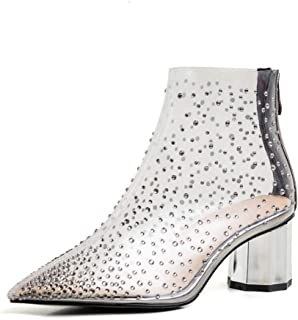 Chunky Heel Mid Heel Transparent Ankle Boots Fashion Women's Boots