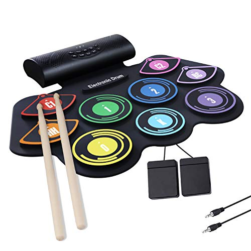 CCFCF Electronic Drum Set, Foldable Roll Up Drum Kit with 9 Drum Practise Pads, 2 Foot Drum Pedals, 2 Drum Sticks, Portable Electric Drum Set, Best Birthday for Kids Children Starters