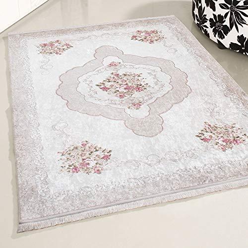 mynes Home Tappeto beige lavabile, stile shabby chic, tappeto di design, per cucina, soggiorno, bagno, ecc. Lavabile in lavatrice, design vintage, antiscivolo, 120 x 170 cm
